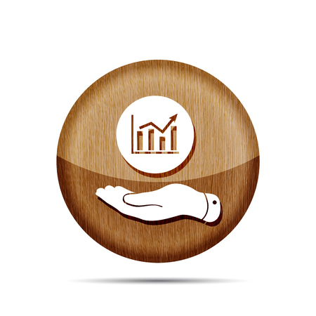 going up: wooden flat hand showing the icon of graph going up - vector illustration