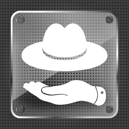 pleading: flat hand showing black hat icon on a metallic background