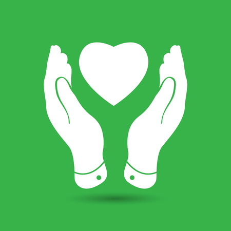gift of hope: two hands protecting heart icon, vector illustration Illustration