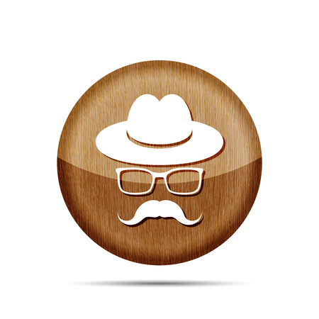 wooden hat: wooden hat with mustache and glasses isolated on a white background