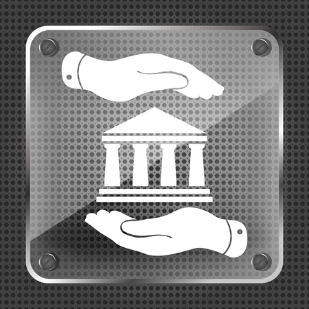 mettalic: two hands with badge with bank icon on a mettalic background - vector illustration