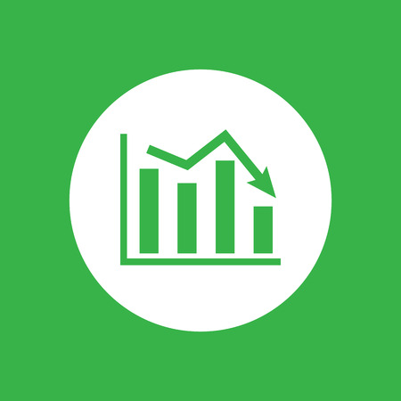 going down: white flat icon of graph going down on a green background