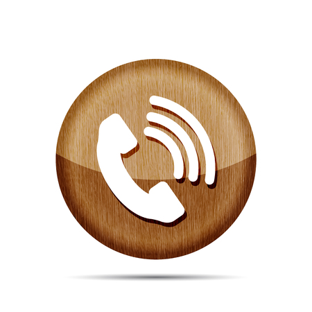 cell phone booth: Wooden telephone receiver vector icon on a white background