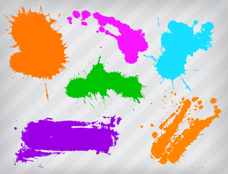 Collection of paint splash. Vector set of brush strokes.