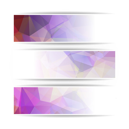 pastel colored: set of Abstract purple pastel colored Triangular Polygonal vector banners