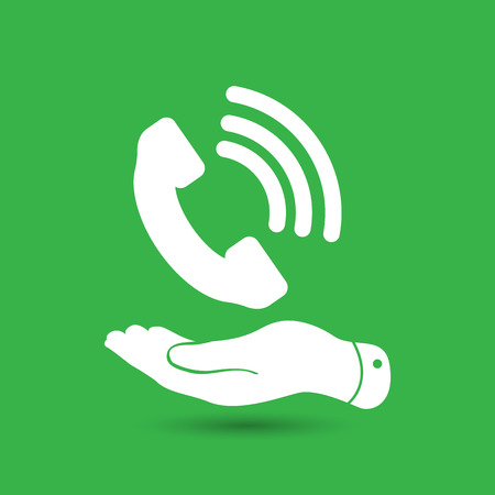 cell phone booth: flat hand showing white phone receiver icon on the green background