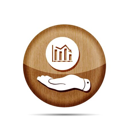 going down: wooden flat hand showing the icon of graph going down - vector illustration