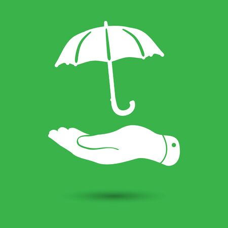 pleading: white flat hand with umbrella icon on a green background