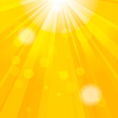 festive background: Bright yellow abstract festive bokeh sun effect background Illustration