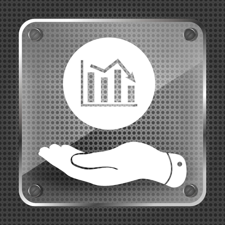 going down: flat hand showing the icon of graph going down on metallic background Illustration