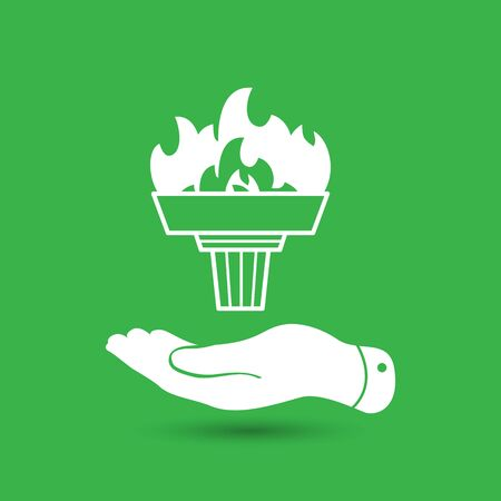 pleading: flat hand represents white torch with flame icon - vector illustration Illustration