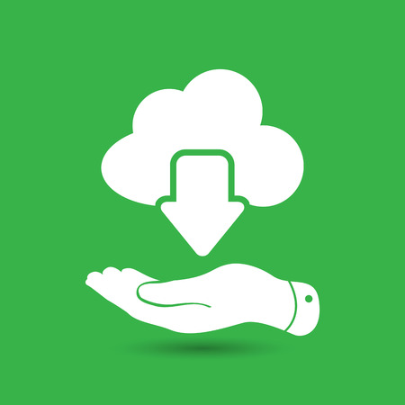 green computing: flat hand showing white cloud computing download icon on a green background