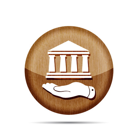 pleading: wooden flat hand presenting bank architecture icon Illustration