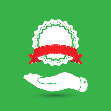 qualify: flat hand showing badge with red ribbon icon on the green background