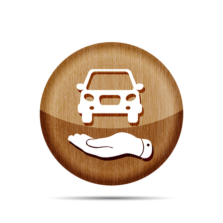 pleading: flat hand showing wooden car icon - vector illustration