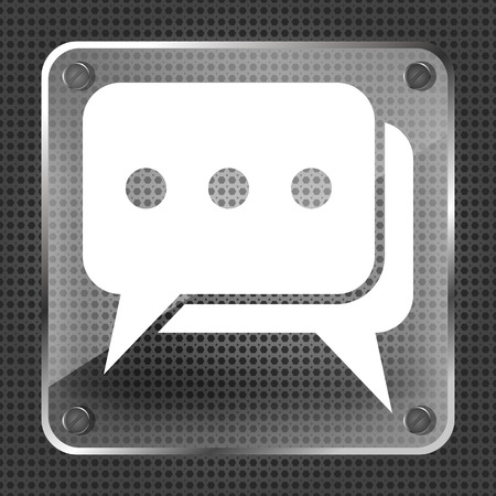 chat room: Glass dialog icon on a metallic background