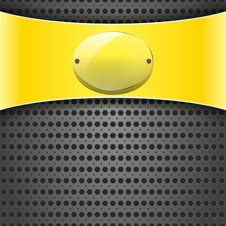 fibra de carbono: etiqueta amarilla con la placa de la transparencia en el fondo metálico