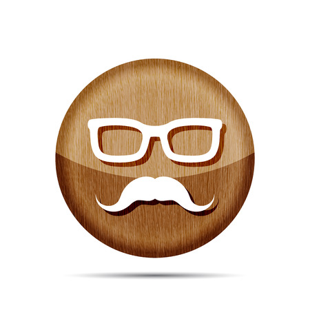 mustaches: wooden glasses with mustaches icon - vector illustration Illustration