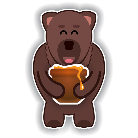 huggable: happy cute bear with pot of honey on a white background
