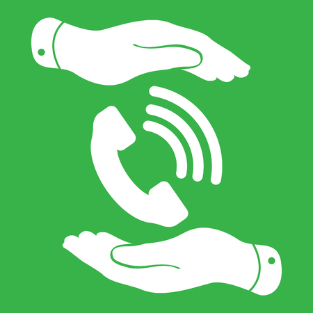 cell phone booth: two hands protecting white phone receiver icon on the green background - vector illustration