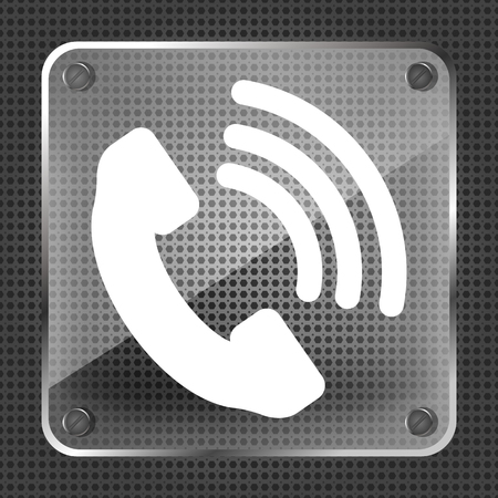 cell phone booth: Glass Telephone receiver vector icon on a metallic background