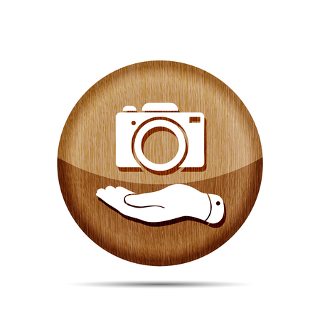 pleading: wooden flat hand shows the photo camera icon - vector illustration