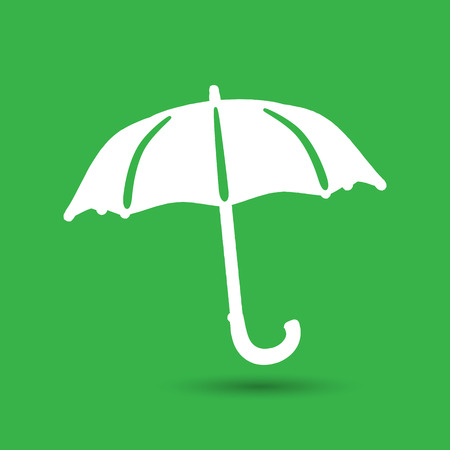 flat umbrella icon on the green background Illustration