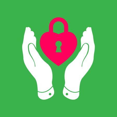 careful: heart lock shape icon in careful hands