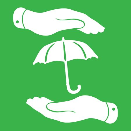protecting: two hands protecting umbrella icon Illustration