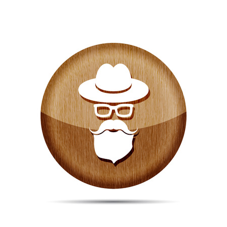 wooden hat: wooden hat with mustache, beard and glasses isolated on a white background