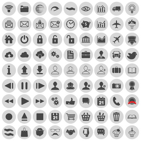 bank book: set of web, multimedia, social and business icons on a white background Illustration