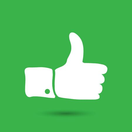 sign up: white flat thumbs up sign on green background
