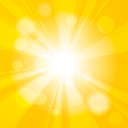 Bright yellow abstract festive bokeh sun effect background Stock Illustratie