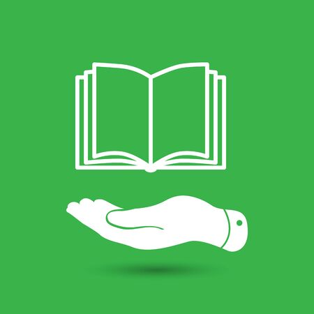 hand silhouette: white flat hand giving the book icon - vector illustration Illustration
