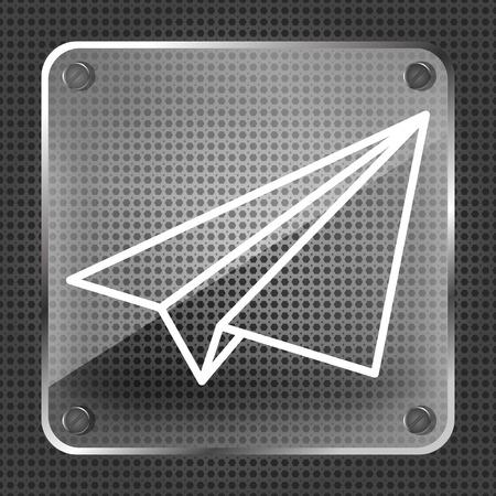 metallic background: Glass linear paper plane icon on a metallic background