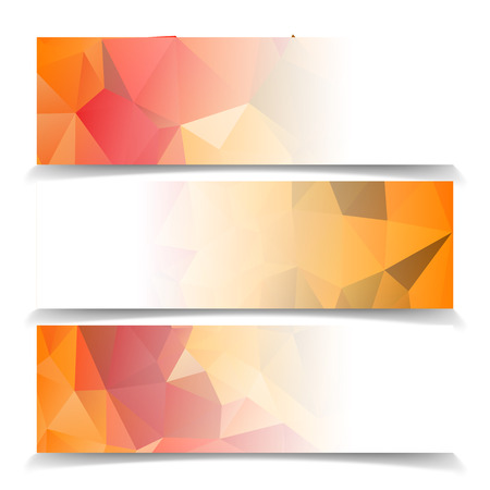 abstract fire: Abstract Orange Triangular Polygonal banners set