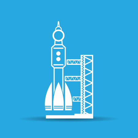 spaceport: blue launch site with rocket, spaceport icon, vector illustration