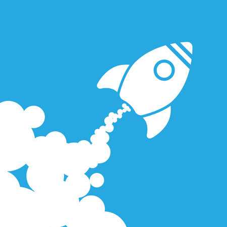 rocket: white rocket icon with clouds on a blue background - vector illustration