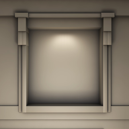exhibit: empty niche with spotlight for exhibit in the grey interior