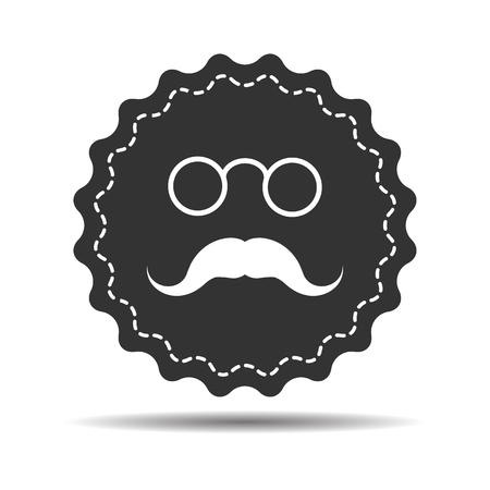 card suits symbol: flat face icon with pincenez and mustaches