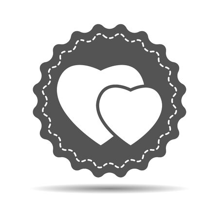 medal like: hearts icon on a retro badge, vector illustration