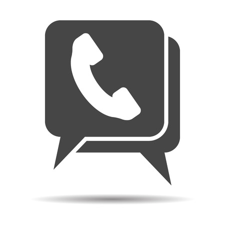 flat chat icon with telephone receiver icon on a white background- vector illustration Vectores