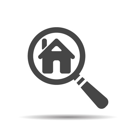 for rental: Search house. Magnifying glass. Search icon, vector illustration.