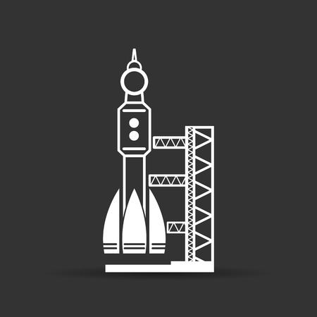 spaceport: white launch site with rocket, spaceport icon on a black background, vector illustration