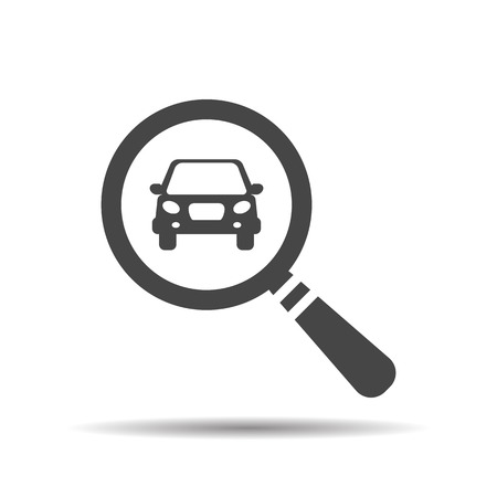 magnifying glass with a car. Car selling icon. Search car, car deal Illustration