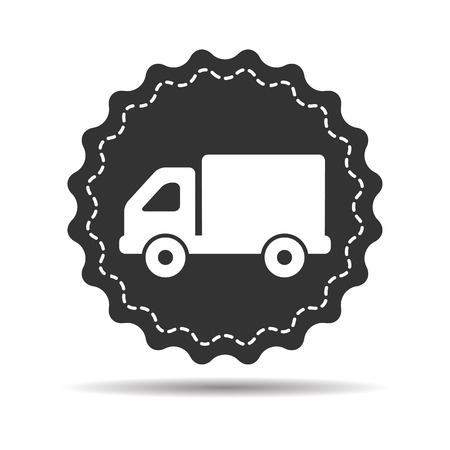 hauling: flat truck icon button on a white background