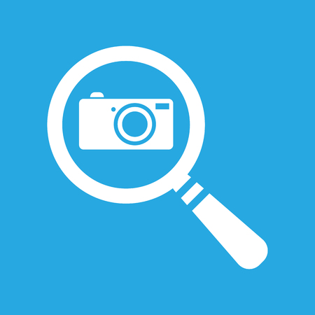 flat search icon with photo camera on a blue background - vector illustration Illustration