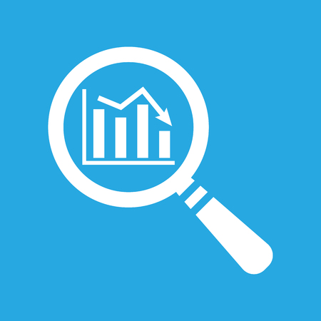 stock predictions: flat search icon of graph going down on a blue background