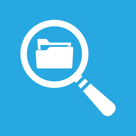 web directories: Flat Search concept with folder icon - Computing - Data and information on a blue background Illustration