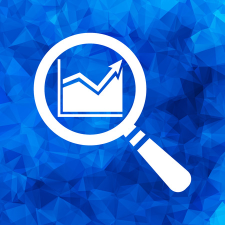 invoices: search graph going up icon flat on a blue Triangular Polygonal background Illustration